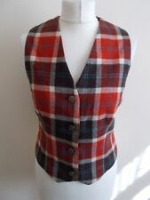 Women's Cream Brown Blue Red Check  Waistcoat Laird-Portch Size 10/12