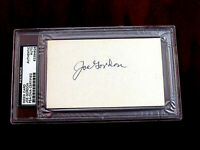 JOE GORDON 1942 MVP YANKEES 5 X WSC INDIANS SIGNED AUTO VTG INDEX CARD PSA/DNA