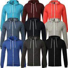 New Plain Mens American Fleece Zip Up Hoody  Sweatshirt Hooded Zipper Top S-5XL