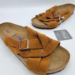 Men's Birkenstock Lugano Mink Suede Leather Soft Footbed Slide Sandals 8 EU 41