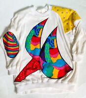 Jill Fitzsimon Australia VTG 80's Sweater Bright Rainbow Patchwork Tunic Top