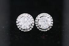 14k Oro Bianco 1.90ct Rotondo Diamante a Bottone Aureola Orecchini H Colore, I2