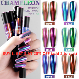 Mirror Nail Powder Cushion Pen Holographic Laser Nail Art Solid Chrome Glitter