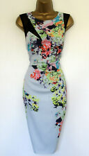 Excellent Karen Millen Dress UK 14 Pale Blue Pink Orange Yellow Floral Lined
