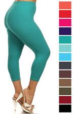 New Women's Plus Size Capri Cropped Solid Leggings Soft Stretchy 1XL-3XL 128