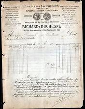 """PARIS (II°) VELOURS SOIERIES TISSUS d'AMEUBLEMENT """"RICHARD & DUCHESNE"""" en 1881"""