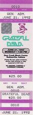 GRATEFUL DEAD TICKET 06-21-1992  DEER CREEK **SHOW NEVER HAPPENED**