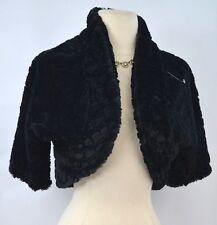 dkny Donna Ricco FAUX Shaggy FUR SHORT CROP open Bolero jacket Coat Black SZ M