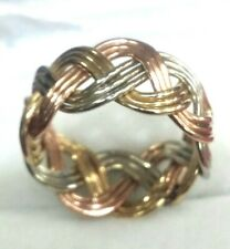 Fancy 14k Solid Tricolor Gold White Yellow Rose 3 Rows Twisted Wire Band Ring
