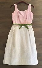 Vtg 60s GAY GIBSON Pink+White BAROQUE Colorblock Cocktail Party Dress XS/S