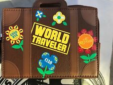Disney It's A Small World Languages Clutch Mini Suitcase Wallet Coin Purse