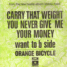 """ORANGE BICYCLE – Carry That Weight (1969 SINGLE BEATLES 7"""" RARE DUTCH PS)"""
