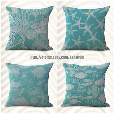 US Seller-4pcs cushion covers shells seahorse nautical patio cushion