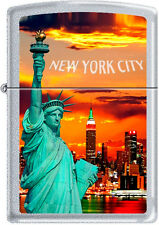 Zippo New York City Statue Of Liberty Skyline Chrome Lighter RARE HARD TO FIND