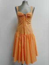"""Vestido De Verano Hermoso Algodón Naranja Ligero Ax Armani Exchange 2 UK8 32"""" B"""