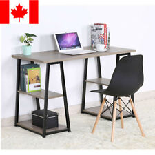 Computer Desk Office WorkStation Home Writing Study Table Dark Wood Metal Legs