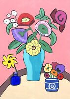 Original Painting Bouquet In Vase, Folk/Naive Art Flowers, Daisies, Rose