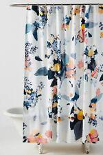 "Anthropologie Blue Sky Botanica Floral Shower Curtain Cotton NEW 72"""