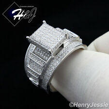 MEN WOMEN 925 STERLING SILVER LAB DIAMOND GOLD/SILVER ICED OUT BLING RING*SR35
