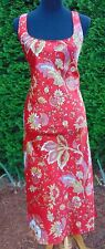 Natori Red Paisley Satin Full Length Nightgown, Excellent Condition Size Medium
