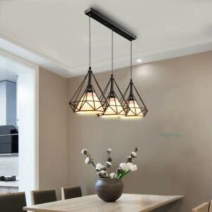3 Lights Industrial Hanging Pendant Light Diamond Cage Kitchen Island Chandelier