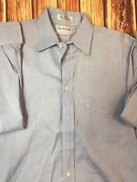 Men's BURBERRYS Blue 100% Cotton Long Sleeve Dress Shirt Size 15 1/2 33