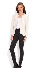 Wish Jacket Cream Panelled Faux Leather Pursue Contrast Slim Fit Ivory Fitted 6