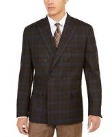 Lauren Ralph Lauren Windowpane Double-Breasted Brown Sport Coat Mens 46L $375