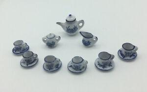 Dolls House Blue/White Tea Set