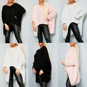 Women's Ladies Knitted Oversized HI LO Dip Batwing Jumper Sweatshirt Top