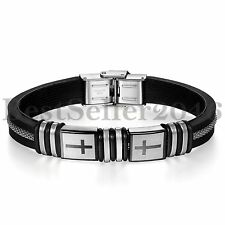 Mens Cross Stainless Steel Clasp Black Silicone Bangle Wristband Bracelet 8.4""