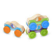 Melissa and Doug First Play Wooden Animal Stacking Cars - 40129 - NEW