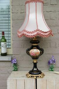XL Vintage Limoges cobalt blue porcelain Table lamp victorian scene shade