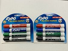Lot Of 2 Expo Low Odor Chisel Tip Dry Erase Markers 4 Markers Rd Blu Grn Blk