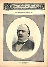 Portrait de Jacques Kablé député protestataire au Reichstag Berlin GRAVURE 1887