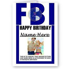 Personnalisé n'importe quel nom, toute photo FBI badge Joyeux Anniversaire A5 Carte
