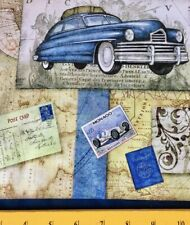 SALE QT Fabric Antique Car  Plane Sailboat Hot Air Balloon Post Cards