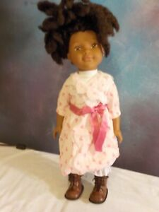 """African American 18"""" doll made in China with dark brown dreadlocks"""
