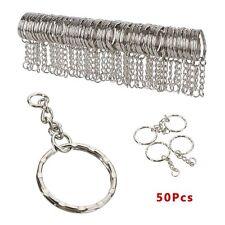 50pcs Polished Silver Keyring Keychain Short Chain Split Ring Key Rings DIY 25mm