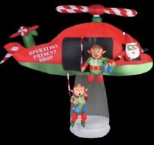 CHRISTMAS SANTA HELICOPTER ELF ANIMATED AIRBLOWN INFLATABLE YARD DECOR  8 FT TAL