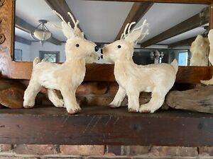"2 Deer Reindeer Sisal Straw Paper Mache' 15"" Set 2 for mantle shelf wreath treeq"