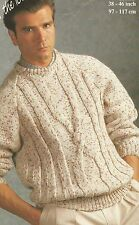 """1765 MANS CHUNKY CABLED JUMPER 38-46"""" 97-117cm  VINTAGE KNITTING PATTERN"""