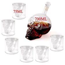 Set! Kristall Schädel Wein Vodka Glas Flasche +6 Tassen Totenkopf Skull Head  DE
