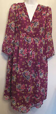 Redoute Creation UK12 EU40 US10 burgundy floral chiffon 3/4 sleeve dress
