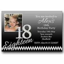 10 Personalised Birthday Party Photo Invitations 16th 18th 21st 30th 40th E375