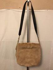 "Plush Brown Rabbit Fur Leather Trim Juicy Couture Cross Body Bag 19"" Strap CUTE!"