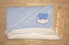 Blankets & And Beyond Baby Blanket Blue Dog Off White Satin Velour Plush Lovey