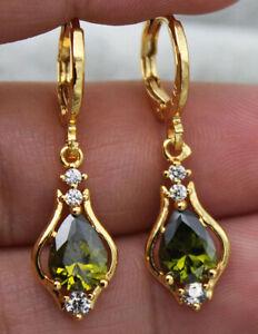 PERIDOT DIAMOND 18K  GOLD  EARRINGS AAA DROP DANGLE ART NOUVEAU STYLE