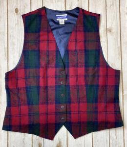 PENDLETON Vintage Women's Wool Red Green Vest Sz 18 Made In USA -Plz Read