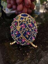 Faberge Egg Figurine Vintage Trinket Box Jewelry Metal Crystals